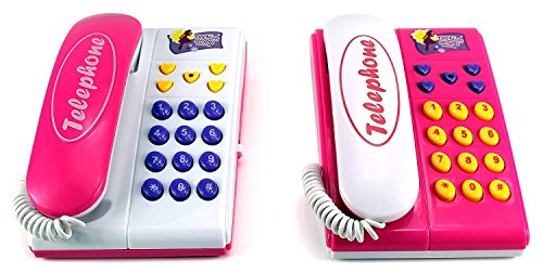 AJ Toys & Games Children's Toy Twin Telephones Wired Intercom/ Children's Kid's Toy Telephone Set W/ 2 Telephones, Talk to Each Other, Ringing Sound