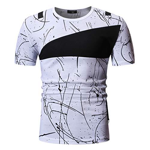 MENHG Men's Crew Neck Ink Dot Line Graffiti Printed Regular Fit Short Sleeve Sports Stretch Cotton Gym Golf Tennis Running Sweat Defense T-shirt Elegant Comfortable Breathable Classic Shirts Tops