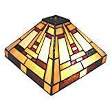 NOSHY Tiffany Style SH-052 Square Table Lampshade, Stained Glass Accent Light Shade, 10-Inch Width, Multi-Colored, Exclusion Accessories, 1pcs