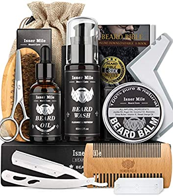 Isner Mile Beard Grooming Kit for Men, Perfect Fathers Gifts for Dad Him Husband Boyfriend, with Beard Shampoo Wash, Growth Oil, Balm, Trimming Set Include Brush, Comb, Scissors, Shaping Tool
