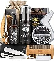 Kit Barba Cuidado Para Hombres, Set Herramientas de Aseo y Recorte Con Champú Barba, Aceite Crecimiento Barba, Bálsamo,...