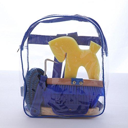 Kerbl Kinderrucksack mit Putzzeug für das Pferd, Putzrucksack, Putzbox, 6–teilig -Blau-
