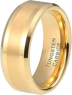 iTungsten 6mm 8mm Silver/Black/Gunmetal/18K Gold/Rose Gold Tungsten Rings for Men Women Wedding Bands Beveled Edges Matte Polished Finish Comfort Fit