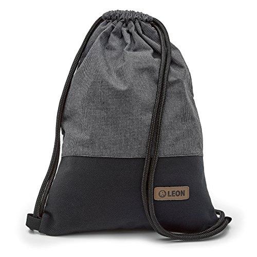 By Bers LEON Turnbeutel mit Innentaschen in Schwarz-Weiß Rucksack Tasche Damen Herren & Teenager Gym Bag Draw String (Salz&Pfeffer)