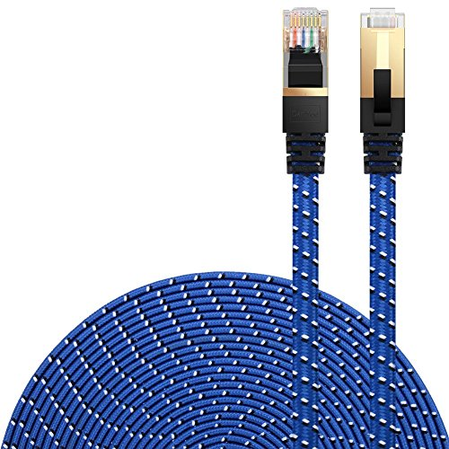 DanYee Cat 7 Ethernet Cable, Nylon Braided 10ft CAT7 High Speed Professional Gold Plated Plug STP Wires CAT 7 RJ45 Ethernet Cable 3ft 10ft 16ft 26ft 33ft 50ft 66ft 100ft(Blue 10ft)