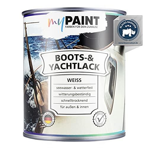 myPAINT® 1K erstklassiger Bootslack & Yachtlack (750ml, weiß) langlebiger Bootslack Holz- professioneller Kunstharzlack - Made in Germany