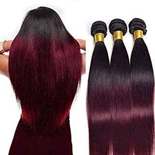 Ombre Human Hair Bundles Straight Wave Ombre T1B/99J Human Hair Bundles Two Tone Hair Extensions Black To Burgundy Unprocessed Brazilian Virgin Human Hair Bundles Sew In Hair Weave(18 20 22Inch)