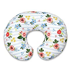 A Boppy breastfeeding pillow with a floral and striped pattern.