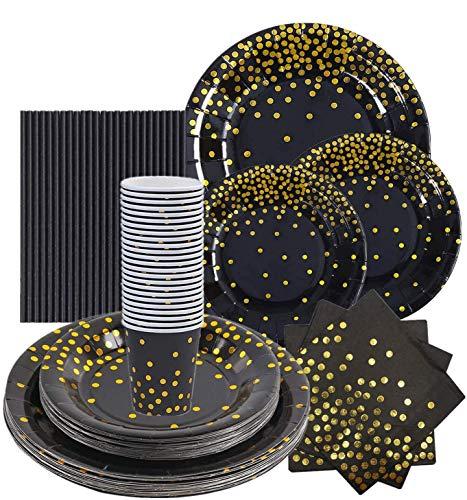 VAINECHAY 146pcs Lot Vaisselle Jetable Anniversaire Assiette Dîner Tasse Serviette Papier Paille pour Party Fête Mariages Baby Shower Noël, Noir