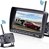 Rohent HD 960P Digital Wireless Backup Camera with 7''Monitor High-Speed Observation System for RVs,Trucks,Trailers Hitch Rear View Camera Super Night Vision with Grid Lines DIY Setting-R9