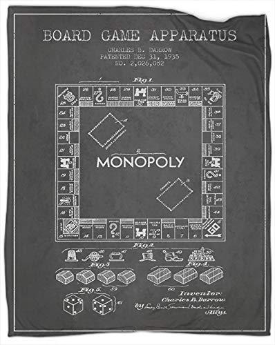 Coobals Monopoly - Manta térmica de forro polar de algodón, tamaño doble, súper suave, larga y con impresión excelente sensación de 80 x 60 pulgadas