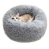 Calming Dog Cat Bed 40 70 100cm Plush Donut for Large Medium Small Dog Cat Anxiety Relief Fluffy Soft Round Pet Nest Orthopedic Relief Cuddler Kennel Super Lightweight Light Grey 40cm