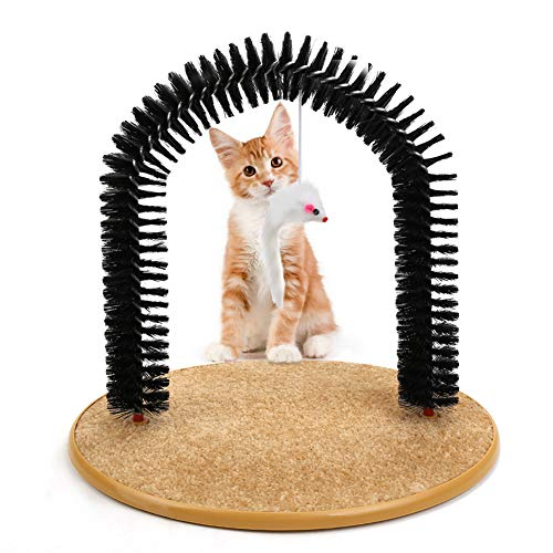 Cat Arch Self Groomer Brush with Cat Toy,Pet Self-Grooming Massaging Brush Pass-Through Arch with...