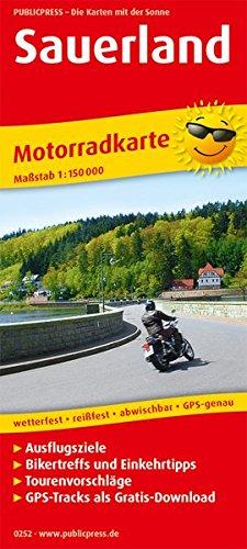 Sauerland: Motorradkarte mit Tourenvorschlägen, GPS-Tracks als Gratis-Download, Ausflugszielen, Einkehr- & Freizeittipps, wetterfest, reißfest, abwischbar, GPS-genau. 1:150000 (Motorradkarte / MK)