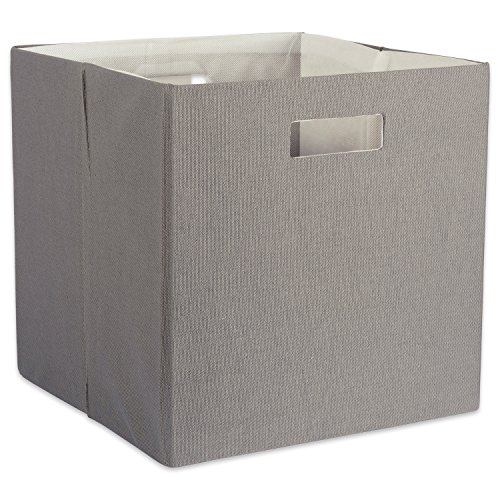 DII Hard Sided Collapsible Fabric Storage Container for Nursery, Offices, & Home Organization, (13x13x13) - Solid Gray