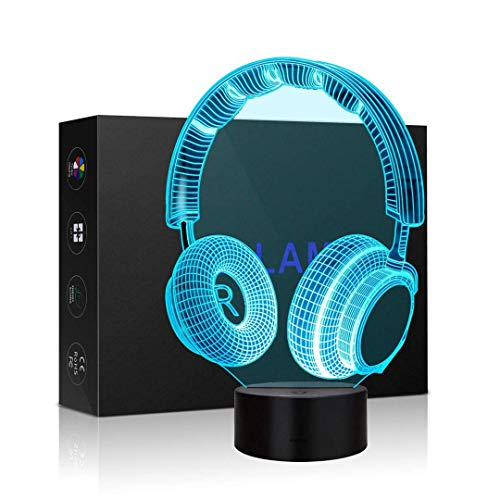 3D Illusion Lamp 7 Colour Changing Acrylic LED Night Light with,Art Sculpture Lights Room Home Decoration,USB Charger, Pretty Cool Toys Gifts Ideas Birthday Holiday Xmas for Baby (Headset)
