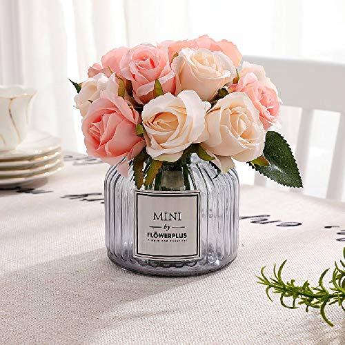 FCL RAN Künstliche Rosen aus Seide für Hochzeitssträuße, Blumenarrangements, 5 Farben, 12 Rosen pro Box champagnerfarben