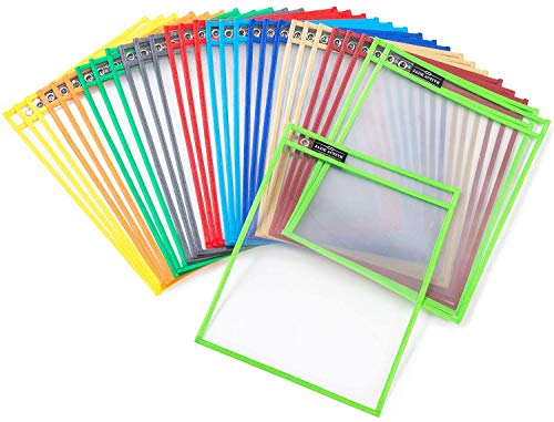 Dry Erase Pockets Sheet Protectors  Reusable  Oversized  Size 10 X 13 Inches  30 Plastic Sleeves  Mixed Colors  Ideal to use at School or at Work