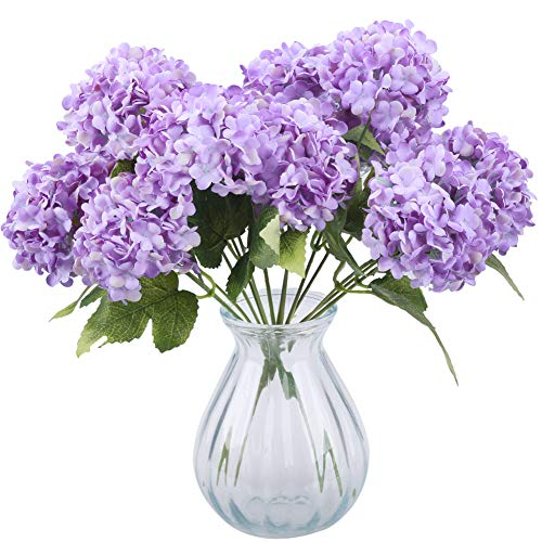 Greentime Tiny Artificial 7 Heads Hydrangea Bouquet Faux 13 Inches Mini Silk Hydrangea Flowers for Wedding Home Table Centerpiece Party Decoration (Purple)