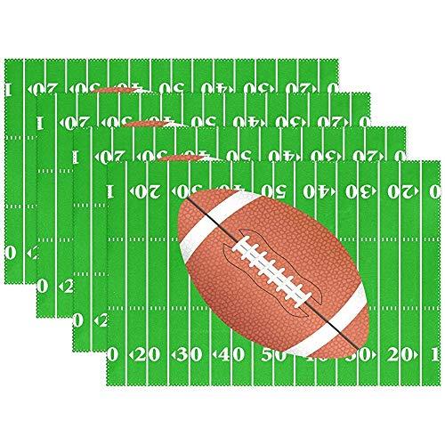 Tovaglietta tovaglietta stadio football americano sport palla, tovaglietta poliestere tavolo per cucina sala da pranzo set di 6 per bambini, 45X30 cm [18x12 pollici]