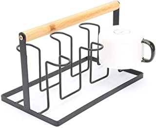 6-Mug Holder Coffee Cup Storage Rack Non-slip Iron Art Hook Tea Set Stand with Wood Handle Coffee Counter Bar Accessory & ...