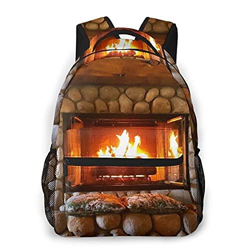 Alvaradod Zaino per laptop da viaggio,caminetto in legno di Natale Rockstone Art,Business resistente...