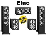 (1 Pair) ELAC Uni-fi UF5 Floorstanding Speaker (Black, Single) + ELAC Uni-fi UC5 Center Speaker (Black, Single) + ELAC Uni-fi UB5 Bookshelf Speaker (Black, Pair) Bundle