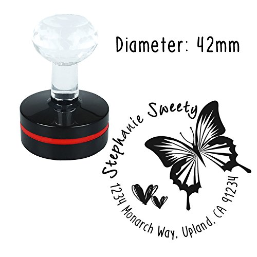 Personalized Custom Stamp Round Butterfly Sweet Heart Love Design Self Inking Flash Rubber Return Address Stamp Seal Maker for Mail Signature Wedding Company Logo Brand Housewarming Gift