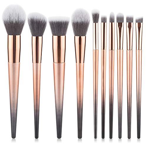 WFBD-CN Pinceau de Maquillage Cristal dégradé Pinceau de Maquillage 10 Sets Outils complets Pinceau Fard à paupières de beauté Jeu de Pinceau de Maquillage (Handle Color : Gold)
