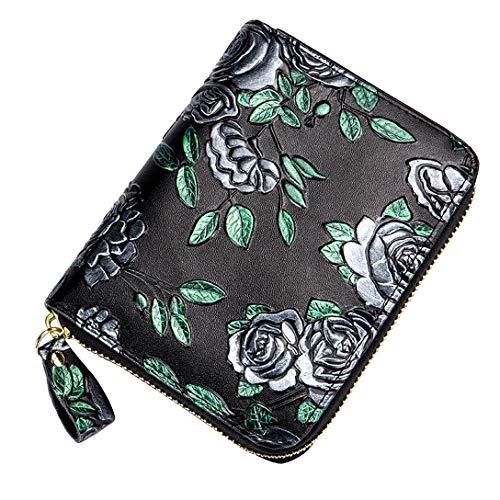 Handtasche Kartentasche Damen Brieftasche Große Kapazität Echtes Leder Langlebig Anti-degauss Multi-Card Position (Silber stieg)