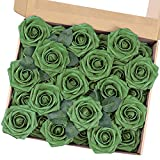 MACTING Artificial Rose Flowers, 30pcs Real Touch Fake Foam Flowers for DIY Bouquets Wedding Party Baby Shower Home Decoration (Army Green)
