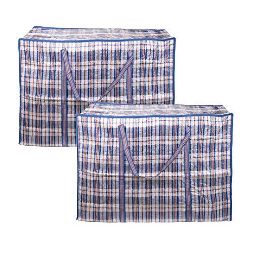 EDATOFLY Confezione da 2 Borse Plastica con Cerniera, Borse per Vestiti Grandi Buste Trasloco Sacchi Trasloco per Protezione Abiti E Trasporto (Blu, 60cm*45cm*20cm)