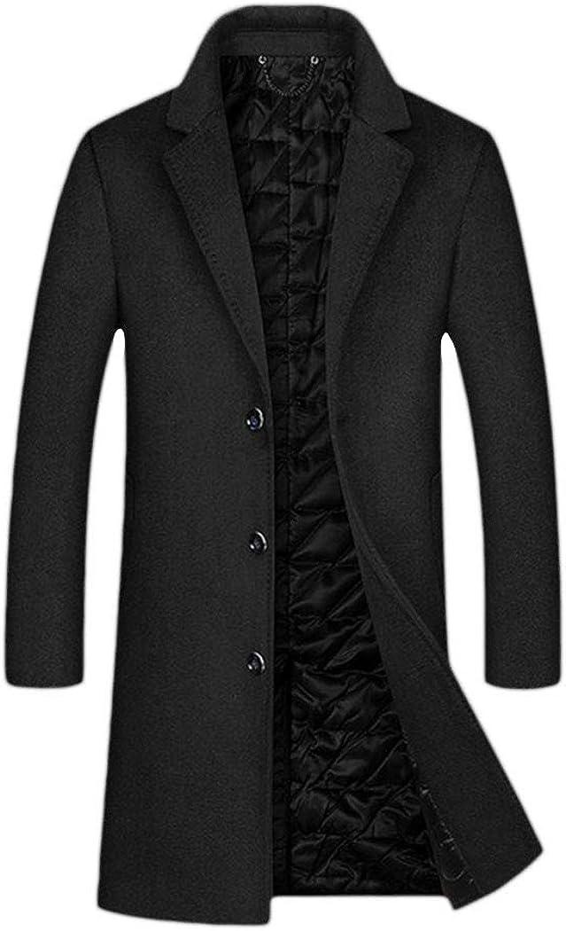 Autumn Winter Men Casual Coat Thicken Woolen Trench Coat Business Solid Overcoat Long Jackets Tops