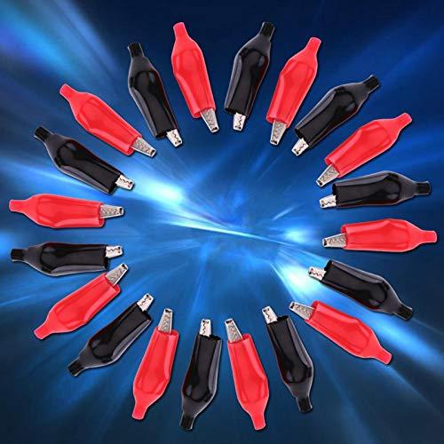 Clip de cocodrilos Baverta - Clip de cocodrilos de 45 mm Clip de cocodrilos de metal Pinza eléctrica de cocodrilos para medidor de sonda de prueba negro y rojo 20 piezas