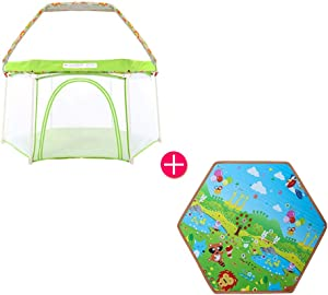 Children s Play Tent With Canopy portable Folding Baby Fence Washable Non-Toxic Materials Playpens For Indoor Outdoor Infant Toddlers Kids Child Products  Color Green