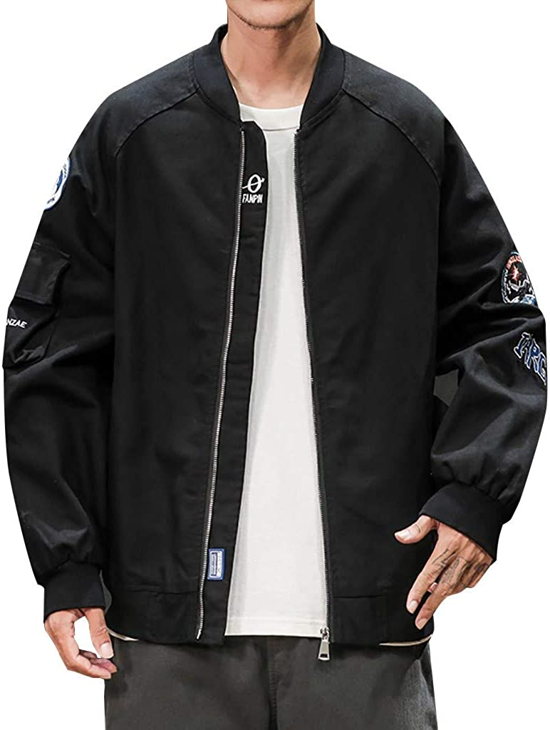 Men's Outerwear Autumn Casual Fashion Embroidery Zipper Stand Collar Jackets Sweatshirt Jackets Sweatshirt Coat