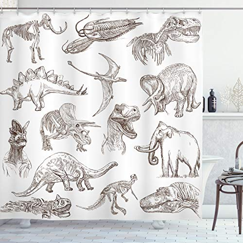 Ambesonne Jurassic Shower Curtain, Arrangement of Various Dinosaurs Illustrations Skeleton Biology Historic, Cloth Fabric Bathroom Decor Set with Hooks, 84 Inches Extra Long, Dark Brown White
