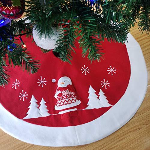 Athoinsu Roter Weihnachtsbaumrock mit Schneemann, 90 cm