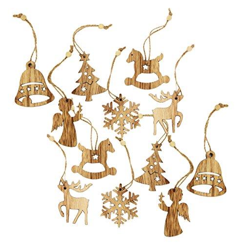 Hotportgift Gazechimp Ensemble de 12pcs Décoration de Noël Ornement Suspendu Flocon de Neige Sapin Décoration