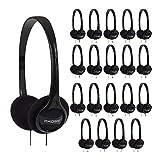 Koss KPH7 Lightweight Portable On-Ear Headphones Bundle (Black, 20-Pack)