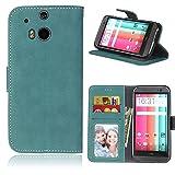 Funda HTC One M8 M8s ,Bookstyle 3 Card Slot PU Cuero cartera para TPU Silicone Case Cover(Azul)