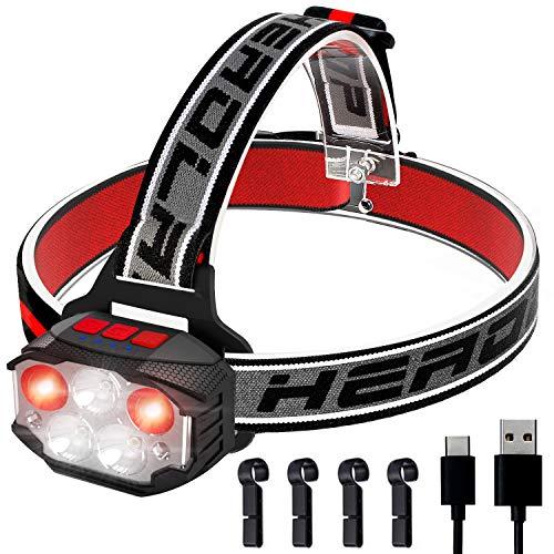 Tinzzi (第2世代)ヘッドライト 充電式 センサー機能付き 赤&白LEDライトIPX65防水 軽量 実用点灯4-53時間 80-1100ルーメン ワンタッチで電源オン/オフ 角度調整可 記憶機能搭載 ヘルメットホルダー付属 防災/夜釣り/登山/作業/キャンプ/散歩/アウトドア用【特許取得|18ヶ月保証】