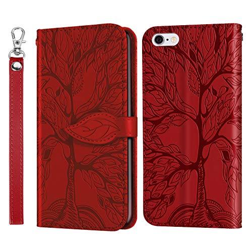 Jajacase Custodia per iPhone 6 Plus   6S Plus (5.5 ) - Portafoglio Libro Cover Flip Caso Shell Protettiva Accessori in Pelle PU con Supporto, Tasca per Schede e Chiusura Magnetica - Rosso