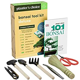 "Premium bonsai tool kit + bonsai 101 book - set includes: wooden rake, long & wide spades, scissors, tweezers, bamboo… 1 everything you need to care for your bonsai, in one stylish case: pruning shear and scissors to cut twigs, smaller branches, leaves or roots easily. Pair of tweezers to remove dead leaves, insects, weeds and other fine debris. Bamboo brush to enhance your bonsai tree, bamboo rake to plane or rake the surface of the soil when repotting, and 2 spades (long & wide). Includes best selling book ""bonsai: 101 essential tips"" by bonsai expert harry tomlinson (dk publishing), with 72 full color illustrated pages. Everything you need to know about bonsai care, maintenance, design, and arrangement. With clear explanations of bonsai and what it is, these 101 easy-to-grasp tips have everything you need to get the results you want. Premium quality: everything is made with only the finest steel and bamboo, as you would expect from the planters' choice brand. And it comes neatly packaged in a stylish storage case so that it makes a great gift for your friend or family."