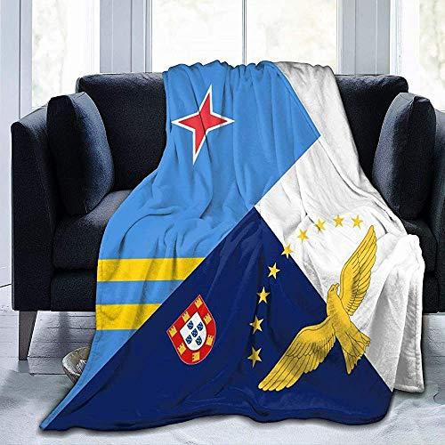 KL Decor flanel dekens, Aruba Azores vlag decoratieve bank deken voor volwassenen kinderen reizen, 102x127cm