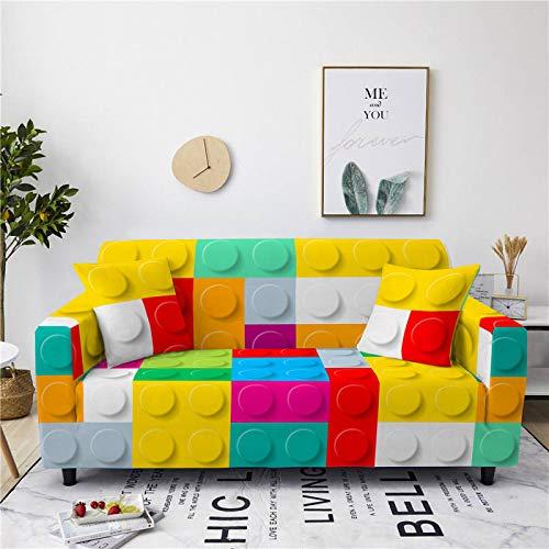 Funda de sofá universal de elastano, elástica, color amarillo, marrón, cuadrado, ajustada, para sillón, sofá de 1/2/3/4 plazas, 3, 190, 230 cm