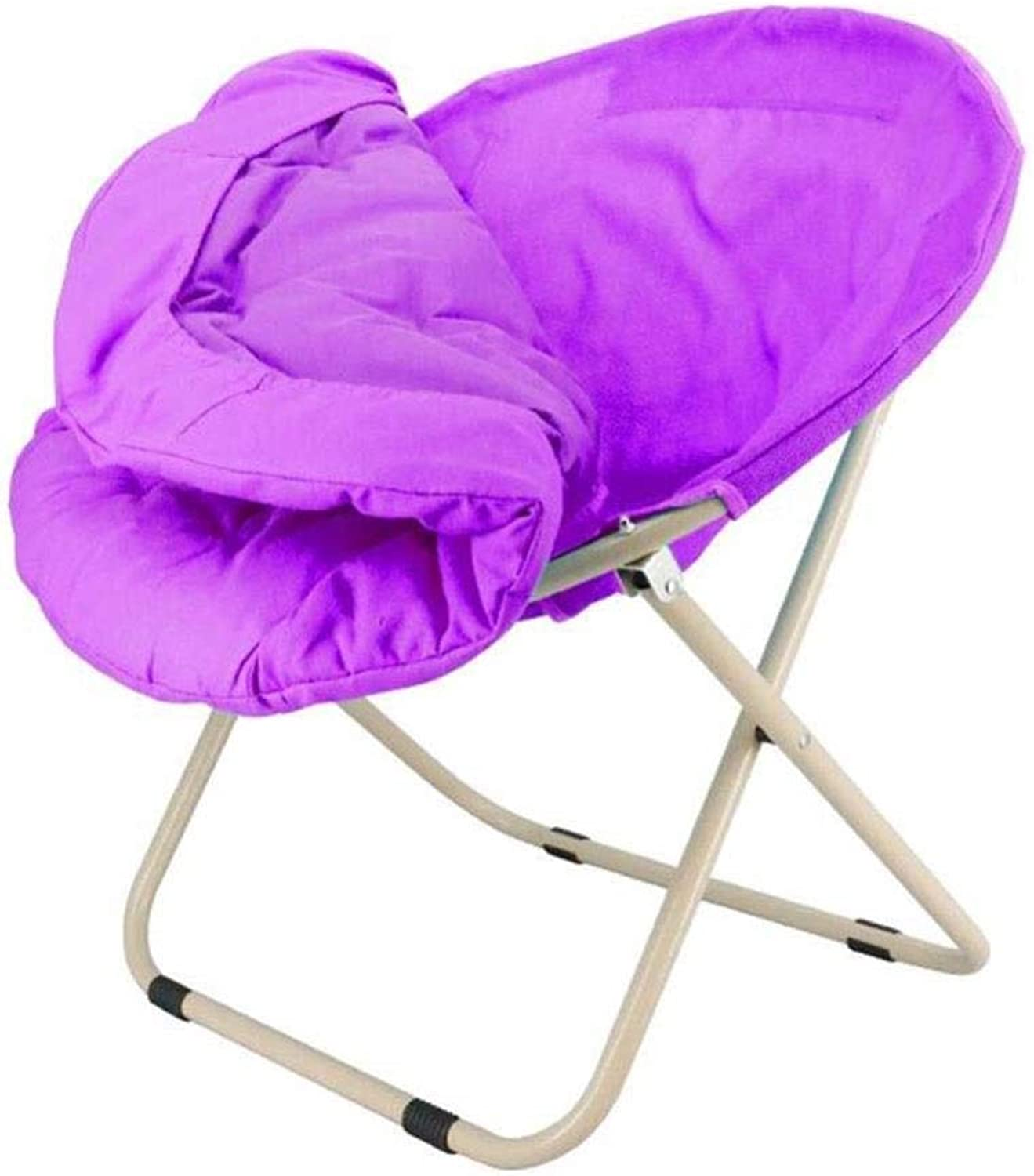 FENGFAN Folding Chair Lounge Moon Chair Adult Sun Lazy Chair Radar Chair Removable Round Sofa Chair Bearing Strong (color   Purple)