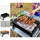 JAOSY <span class='highlight'>Barbecue</span> Charcoal Grill Small Outdoor Lightweight Grill <span class='highlight'>Folding</span> Stainless Steel No Need Installation For Travel Picnic Table Camping