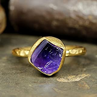 Natural Raw Amethyst Stacking Ring Handcrafted Hammered 24K Yellow Gold Vermeil 925 Solid Sterling Silver Stackable Rough Gemstone Ring