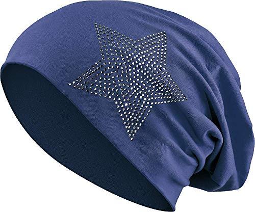 Balinco Jersey Baumwolle elastisches Long Slouch Beanie Unisex Herren Damen mit Strass Stern Steinen Mütze Heather in 35 (2) (Dark Blue)